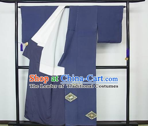 Japanese Traditional Kimono Japan Haori Apparel Blue Yukata Robe Costume for Men