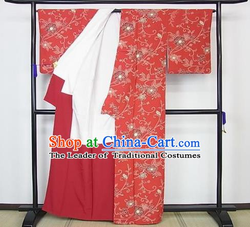 Japan Palace Lady Furisode Kimono Costume Traditional Japanese Red Yukata Dress for Women