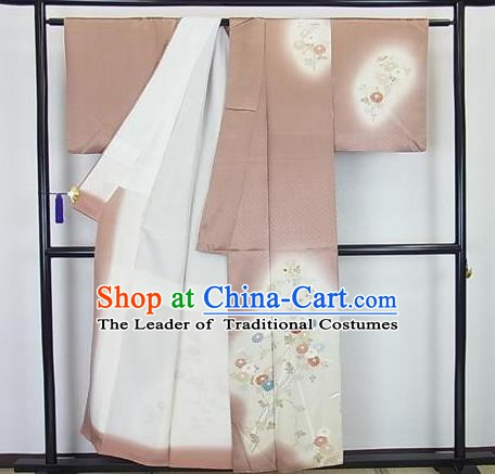 Japanese Traditional Kimono Japan Haori Apparel Khaki Yukata Robe Costume for Men