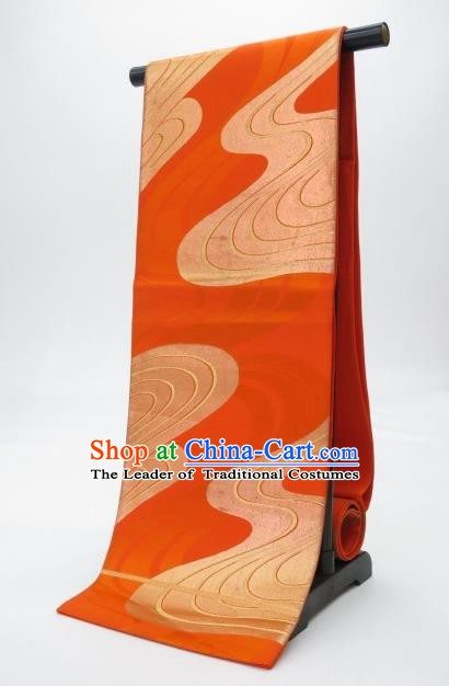 Traditional Japanese Kimono Orange Brocade Belts Kimonos Yukata Waistband for Women