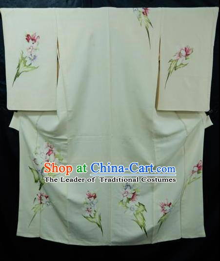Japan Palace Lady White Furisode Kimono Costume Traditional Japanese Yukata Dress for Women