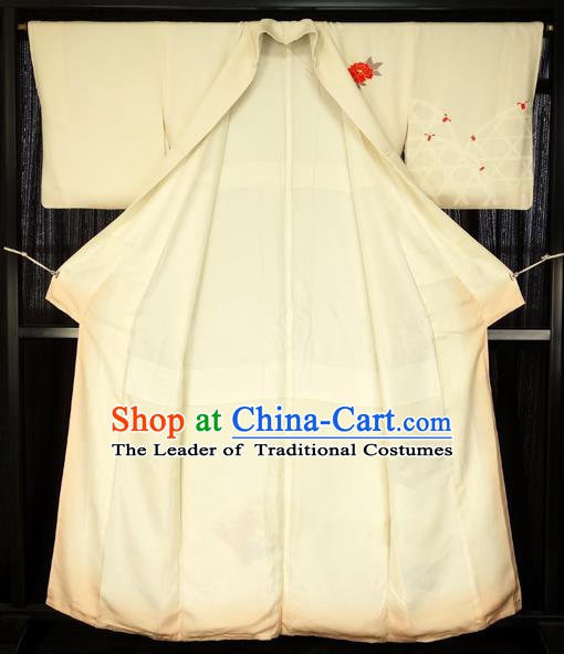 Japan Palace Lady White Furisode Kimono Costume Traditional Japanese Shiromuku Yukata Dress for Women