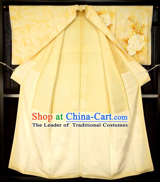 Traditional Japan Palace Printing Flowers Furisode Kimono Costume Japanese Yellow Yukata Dress for Women