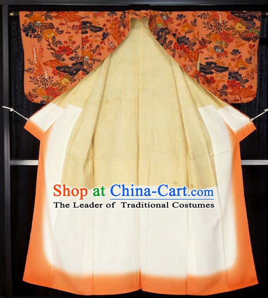 Japan Palace Furisode Kimono Costume Traditional Japanese Orange Yukata Dress for Women
