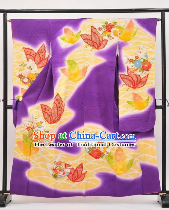 Asian Japan Costume Traditional Butterfly Purple Furisode Kimono Japanese Yukata Dress for Women