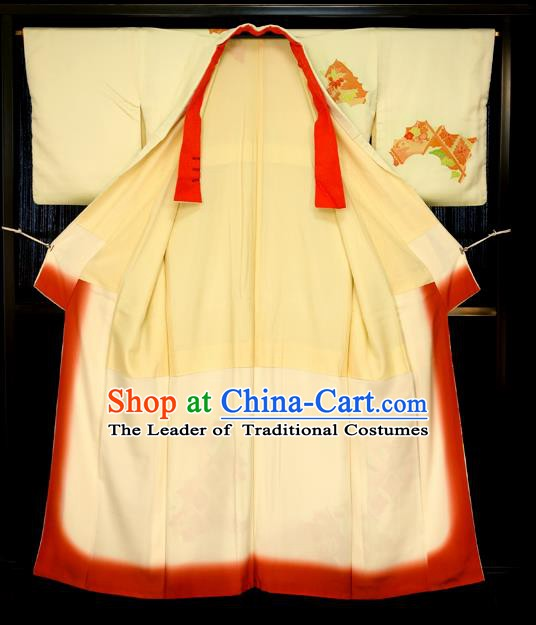 Traditional Japan Costume Female Yellow Furisode Kimono Japanese Yukata Dress for Women