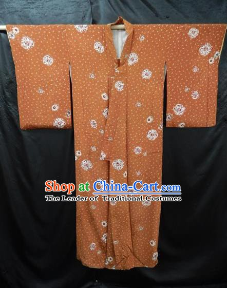 Japanese Traditional Light Tan Yukata Robe Japan Samurai Haori Kimono Clothing for Men