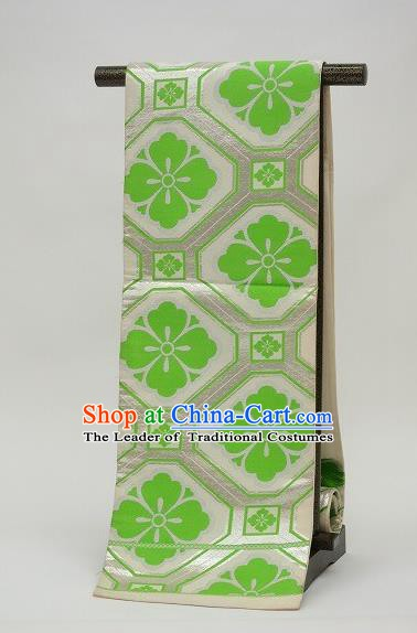 Traditional Japanese Kimono Accessories Green Brocade Belts Kimonos Yukata Waistband for Women