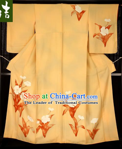 Asian Japan Yellow Furisode Kimono Palace Costume Traditional Japanese Yukata Dress for Women