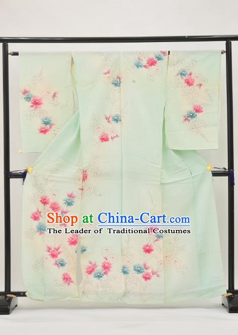 Asian Japan Painting Flowers Green Furisode Kimono Palace Costume Traditional Japanese Yukata Dress for Women
