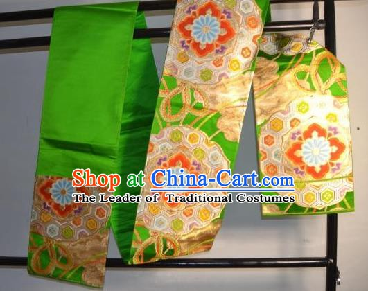 Traditional Japanese Kimono Wedding Green Belts Kimonos Yukata Brocade Waistband for Women