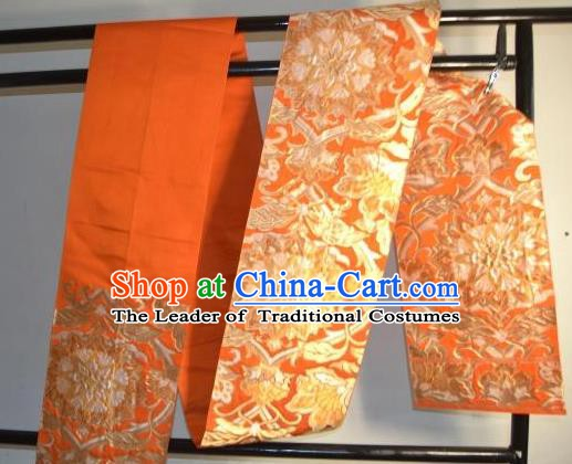 Traditional Japanese Kimono Wedding Orange Belts Kimonos Yukata Brocade Waistband for Women