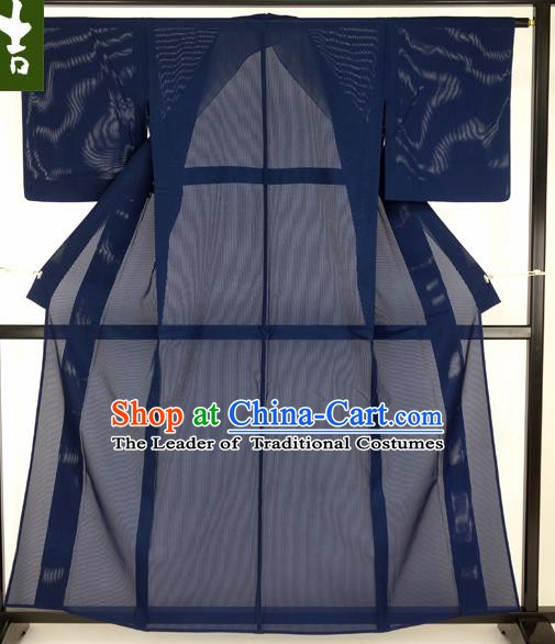Japanese Traditional Formal Costume Blue Gauze Haori Hakama Kimono Japan Apparel Yukata Costume for Men