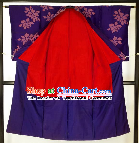Japanese Traditional Purple Kimono Formal Costume Haori Hakama Apparel Yukata Costume for Men