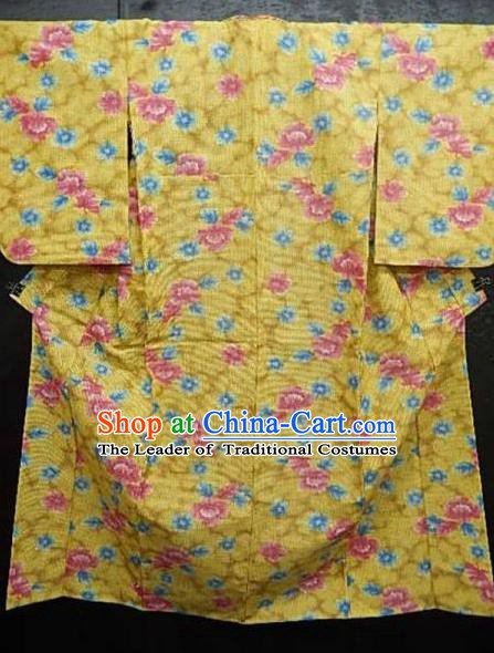 Japan Palace Printing Flowers Kimono Traditional Furisode Kimonos Yukata Dress Formal Costume for Women
