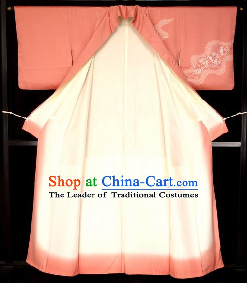 Japan Palace Printing Pink Kimono Traditional Furisode Kimonos Yukata Dress Formal Costume for Women