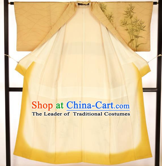 Japanese Printing Bamboo Yellow Kimono Formal Costume Hakama Apparel Yukata Costume for Men