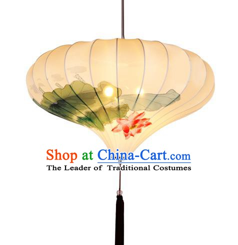 Handmade Traditional Chinese lantern Hanging Lanterns Printing Lotus Lanern New Year Lantern