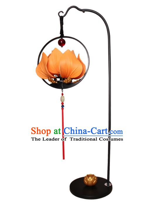 Handmade Traditional Chinese Lantern Floor Lamp Lotus Lanern New Year Lantern