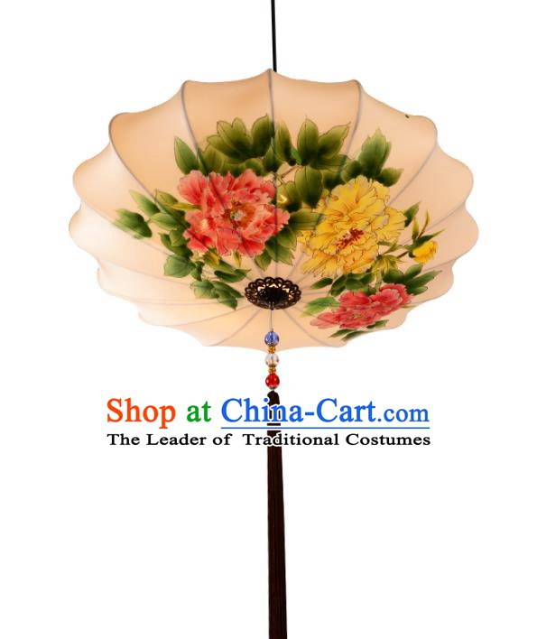 Handmade Traditional Chinese Ancient Lantern Ceiling Lanterns Hand Painting Peony Lanern