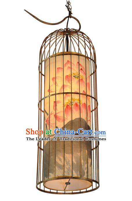 Handmade Traditional Chinese Lantern Floor Lamp Golden Birdcage Lantern