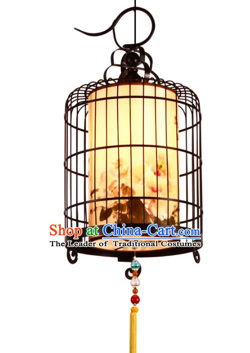 Traditional Chinese Ancient Palace Lantern Iron Birdcage Ceiling Lanterns Hanging Lanern