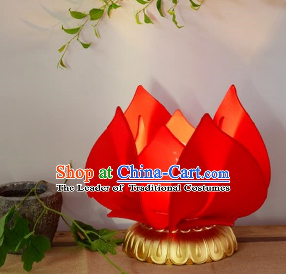 Handmade Traditional Chinese Lantern Red Lotus Desk Lamp Palace Lantern Buddha Lantern