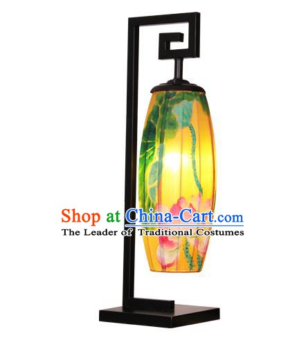 Handmade Traditional Chinese Silk Lantern Painting Lotus Desk Lamp Palace Lantern