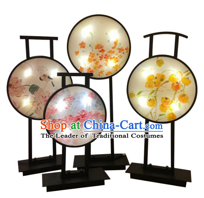 Handmade Traditional Chinese Lantern Hand Painting Fans Desk Lamp Palace Lantern