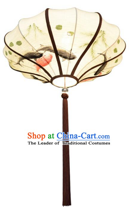Traditional Chinese Ancient Palace Lantern Ceiling Lamp Printing Fish Linen Lanern