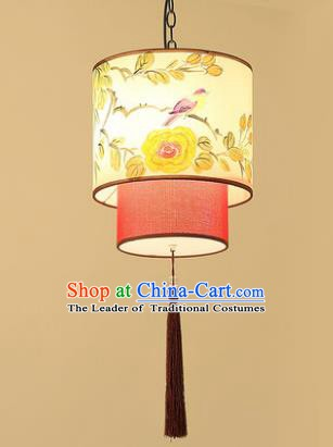 Asian China Traditional Handmade Lantern Flowers Birds Ceiling Lamp Ancient Palace Lanern