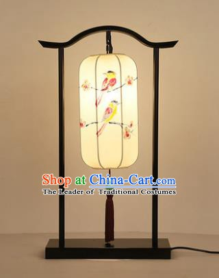 Traditional Asian Chinese Lantern China Style Printing Birds Lamp Electric Palace Desk Lantern