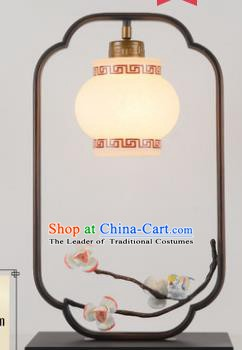 Traditional Asian Chinese Lantern China Ancient Electric Blue Flowers Desk Lamp Palace Lantern
