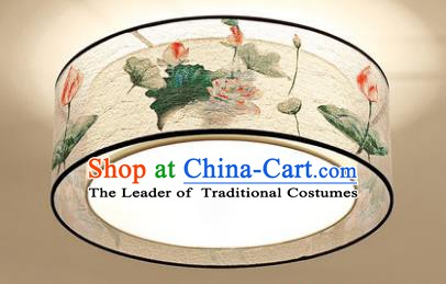 Traditional Chinese Handmade Printing Lotus Lantern Classical Lamp Ancient Palace Ceiling Lanern