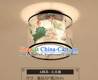 Traditional Chinese Handmade Lantern Classical Ceiling Lamp Ancient Painting Lotus Lanern