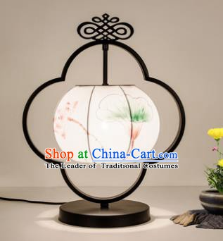 Traditional Asian Chinese Lantern China Ancient Painting Lotus Desk Lamp Palace Lantern