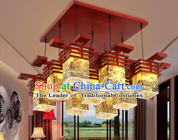 China Traditional Handmade Parchment Lantern Palace Wood Hanging Lanterns Ceiling Lamp Ancient Lanern
