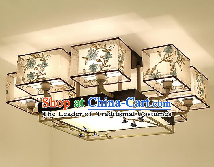 Traditional China Handmade Embroidered Lantern Ancient Eight-pieces Lanterns Palace Ceiling Lamp