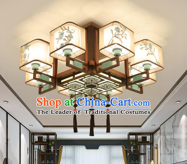 Traditional China Handmade Lantern Ancient Eight-pieces Lanterns Palace Ceiling Lamp