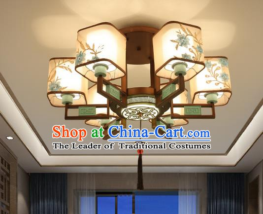 Traditional China Handmade Lantern Ancient Six-pieces Round Lanterns Palace Ceiling Lamp