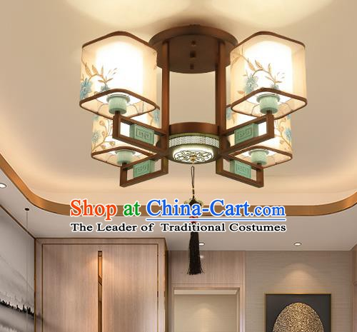 Traditional China Handmade Lantern Ancient Four-pieces Round Lanterns Palace Ceiling Lamp
