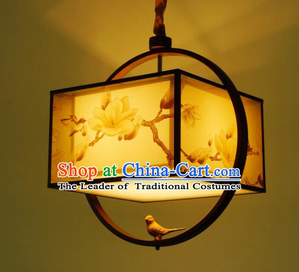 Traditional China Handmade Lantern Ancient Printing Birds Magnolia Hanging Lanterns Palace Ceiling Lamp