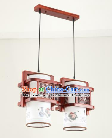 China Traditional Handmade Ancient Orchid Hanging Two-pieces Lantern Palace Lanterns Ceiling Lamp