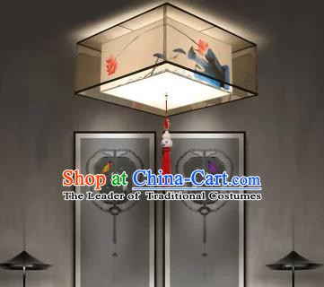 Traditional China Handmade Lantern Ancient Printing Lotus Hanging Lanterns Palace Ceiling Lamp