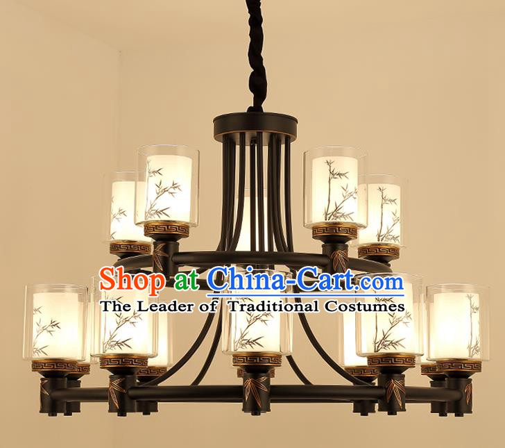 Traditional China Handmade Hanging Lantern Ancient Fifteen-pieces Lanterns Palace Ceiling Lamp