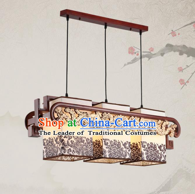 China Traditional Handmade Ancient Three-pieces Lantern Palace Phoenix Hanging Lanterns Ceiling Lamp