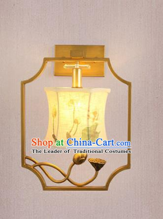 Traditional Asian Chinese Lantern China Ancient Printing Lotus Wall Lamp Palace Lantern