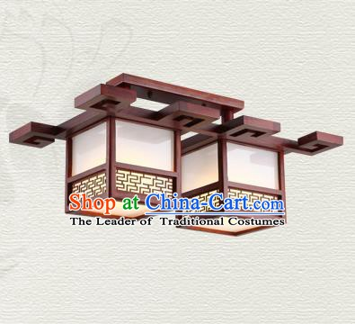 China Traditional Handmade Ancient Wood Lantern Two-pieces Palace Lanterns Ceiling Lamp