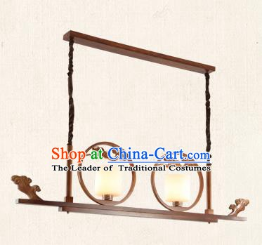 China Traditional Handmade Lantern Ancient Wood Hanging Two-pieces Lanterns Palace Ceiling Lamp