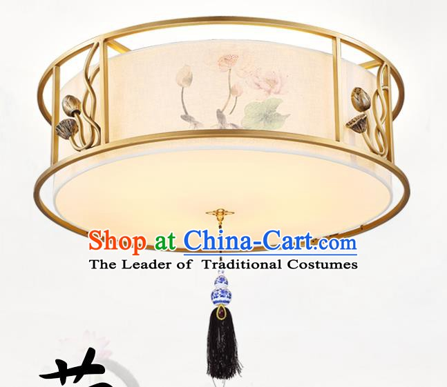 China Traditional Handmade Lantern Ancient Lanterns Palace Painting Lotus Ceiling Lamp
